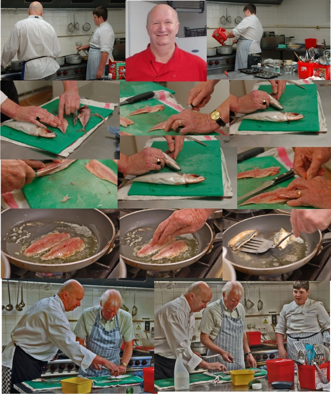 various photos of the prcoess of filleting fish