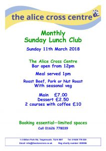 Sunday Lunch Club 11th March @ Alice Cross Centre | England | United Kingdom