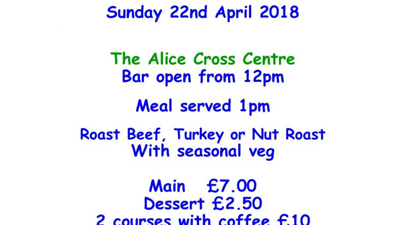 Sunday Lunch club 22nd April