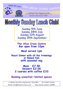Sunday Lunch Club @ the alice cross centre