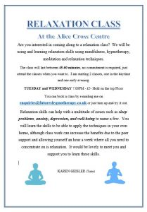 Evening Relaxation Classes @ The Alice Cross Centre