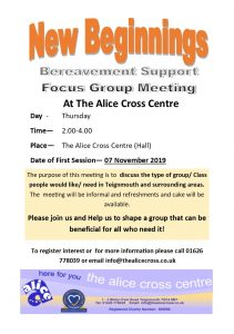 Bereavement support Focus Group @ The Alice Cross Centre