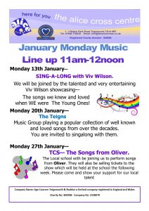 Music Mondays at the Alice Cross @ The Alice Cross Centre