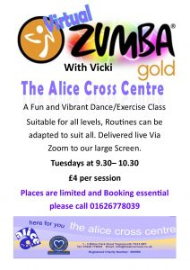Zumba Gold poster. giving details of the Class